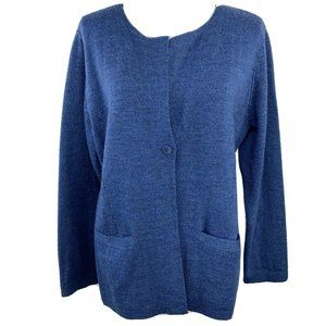 Eileen Fisher 100% Merino Wool One Button Cardigan